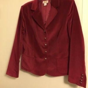 Talbot's Red Velvet Jacket Size 18